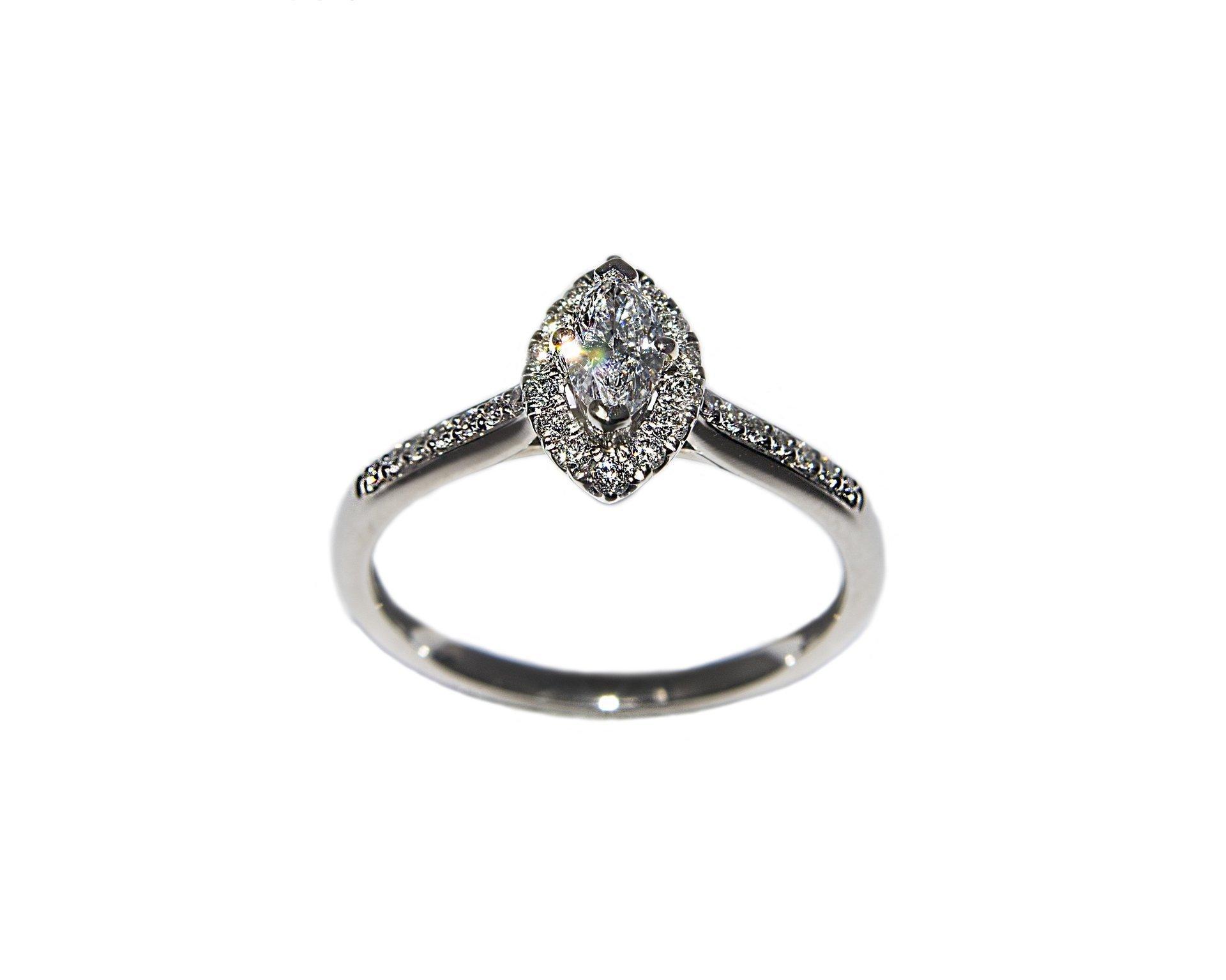 Platinum, Halo Set, Marquise Cut Diamond