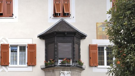 vista di una finestra con fiori