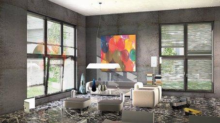 soggiorno moderno con pavimento in marmo  e finestre a vetrate
