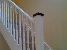 white staircase balustrade