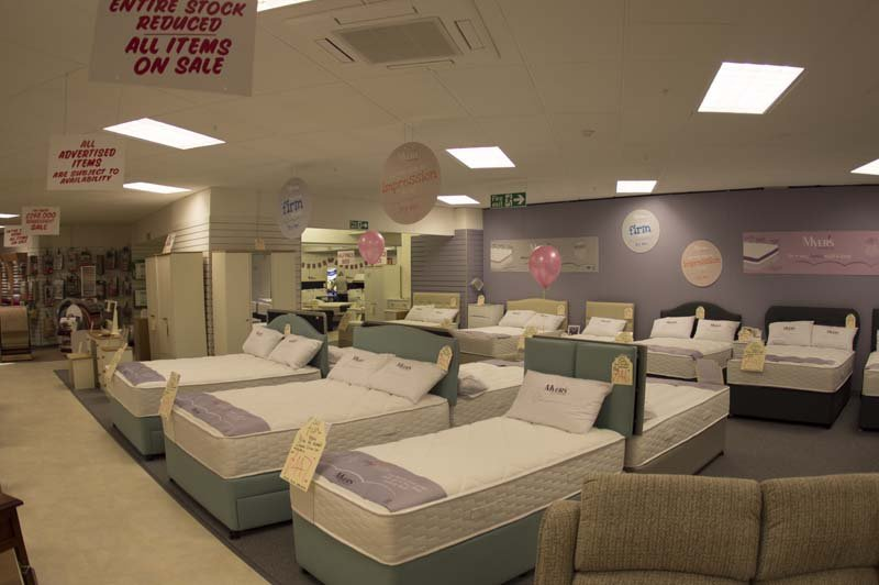 Beds on display at the Clements showroom