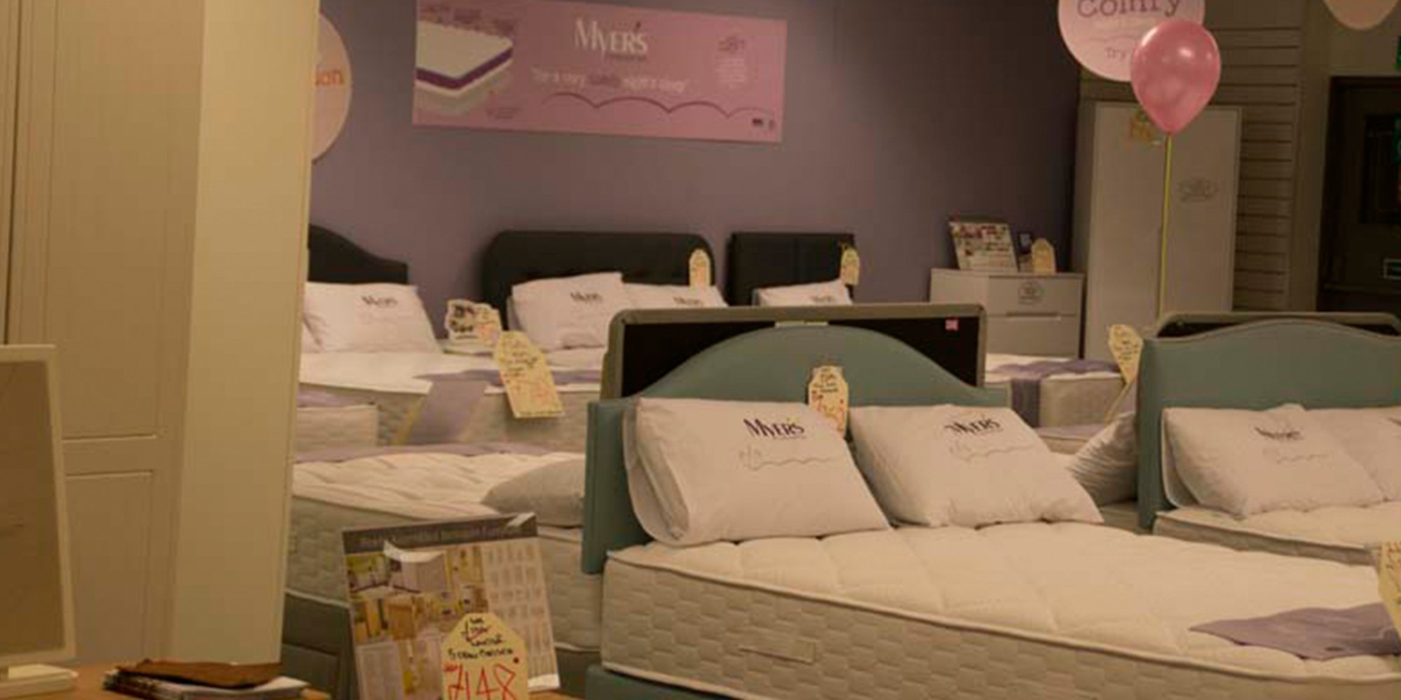 Beds on display in the Clements showroom