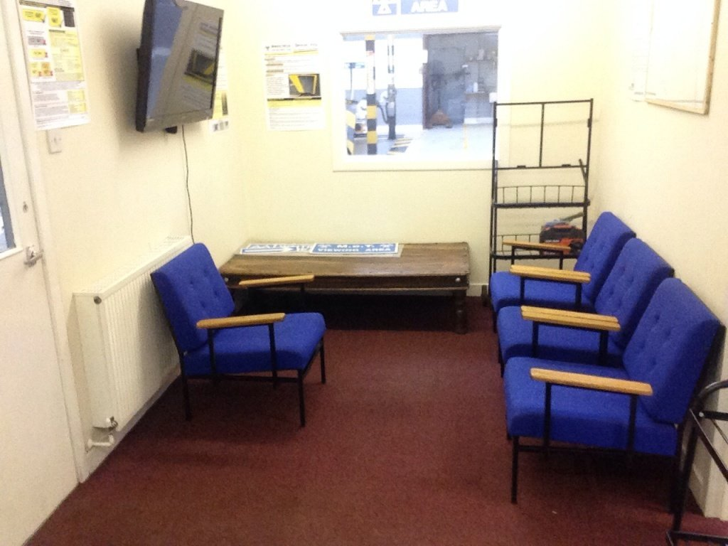 Waiting room at East Kilbrides' Vehicle Servicing Centre