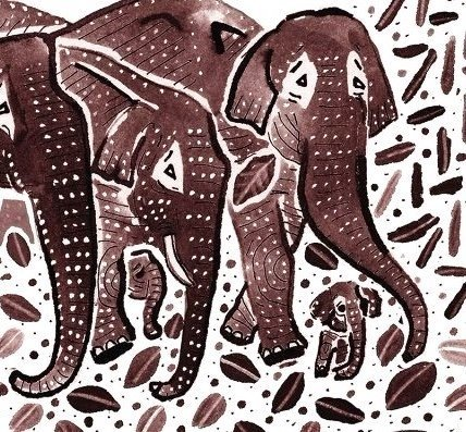 elephants, hares, Indian fable, moon, Narinder Dhami,  lake