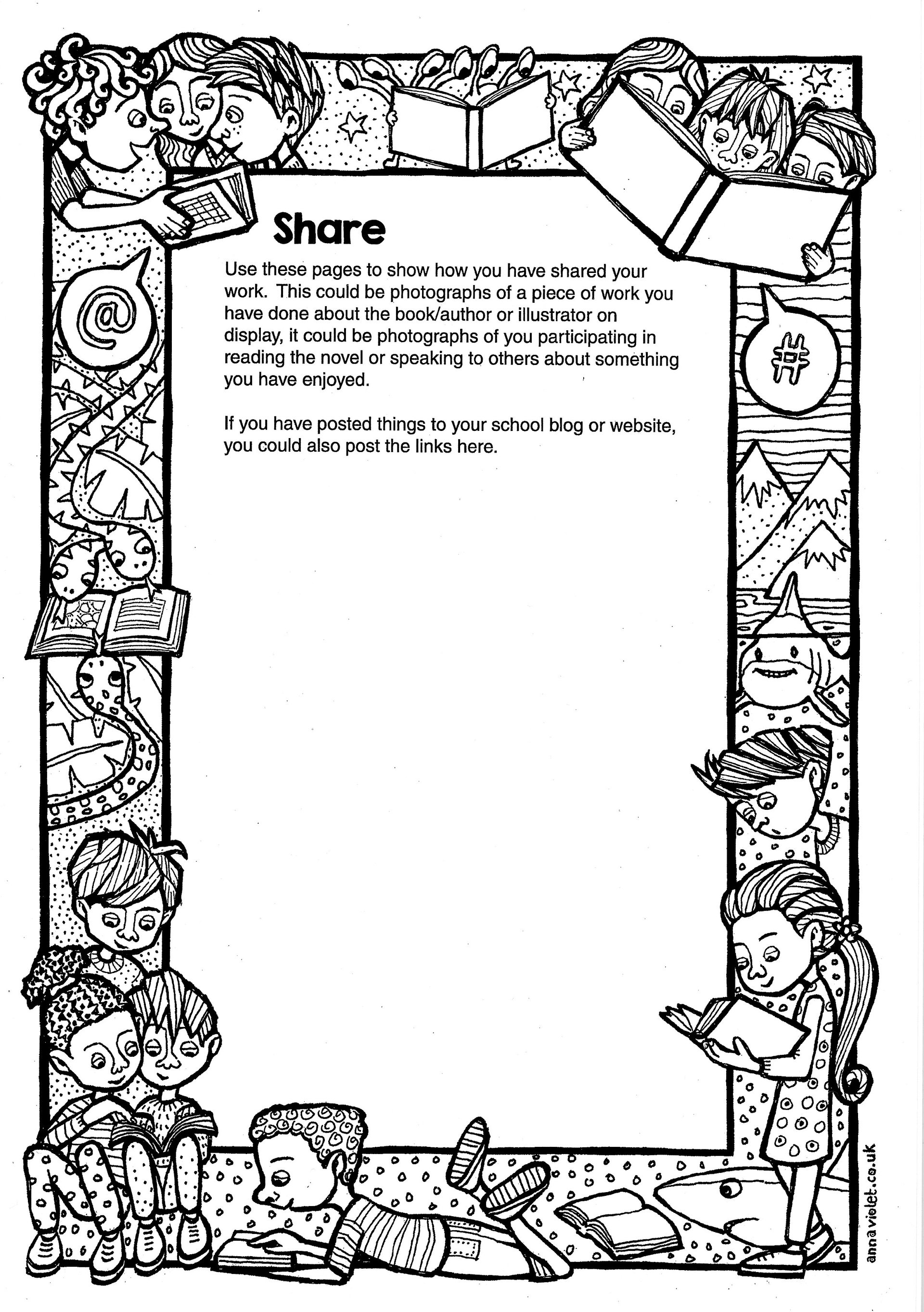 colouring in, line drawing, children, reading, books, discover, share, find out,  discover arts award