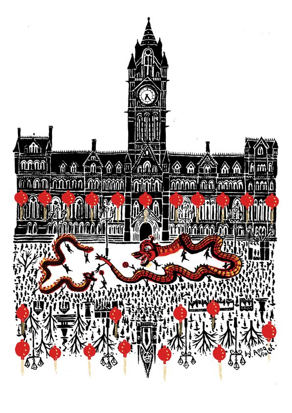 manchester town hall, print, albert square,