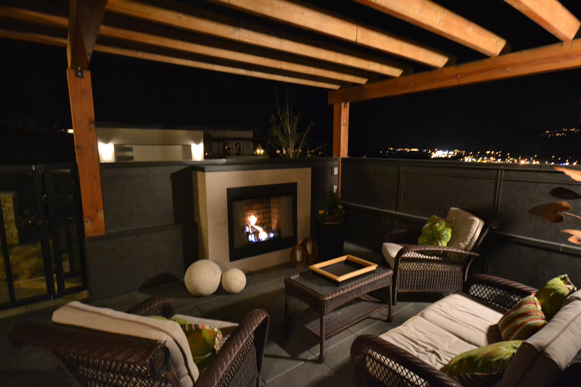Beautiful outdoor patio with a fireplace in Kamloops