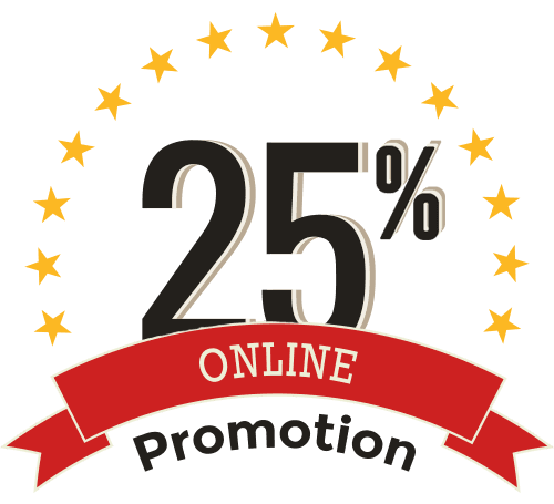 Twenty-five percent off special with charcoal grey font on white background with red ribbon and white text and orange stars