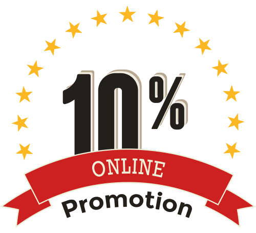 Ten percent off special with charcoal grey font on white background with red ribbon and white text and orange stars