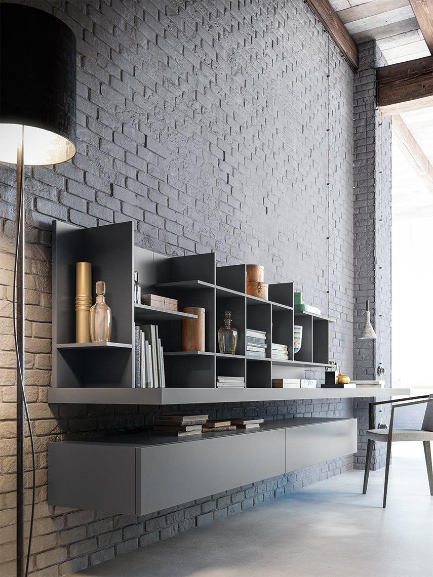 una libreria a muro di color grigio