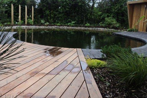 An indoor pond