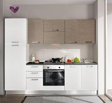 vista frontale di bancone di cucina moderna con armadi in legno