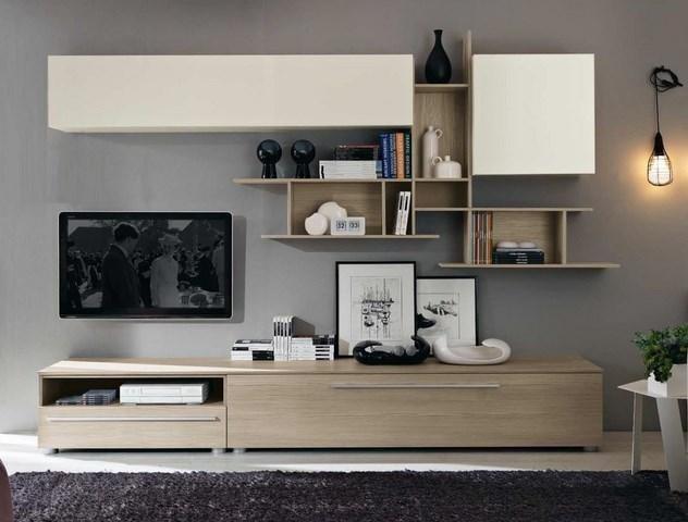 parete attrezzata per soggiorno in legno chiaro con cassetti  in legno per basi, televisione