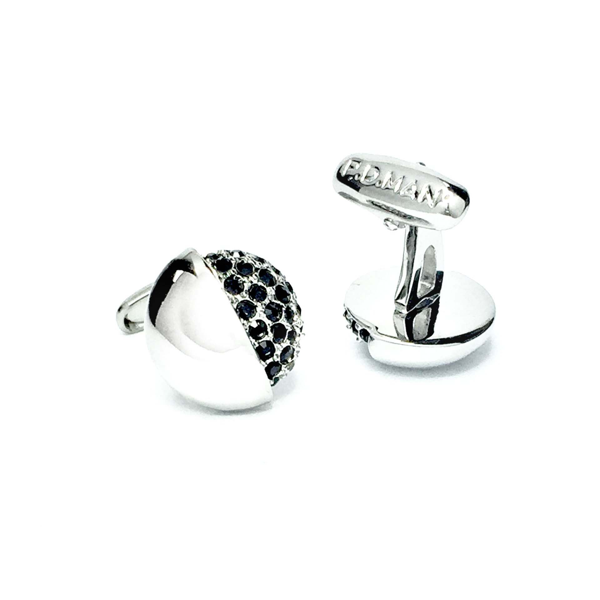 PDMAN England Classic Round Stripe Black Mother of Pearls MOP Cufflinks Cuff Links with Gift Box