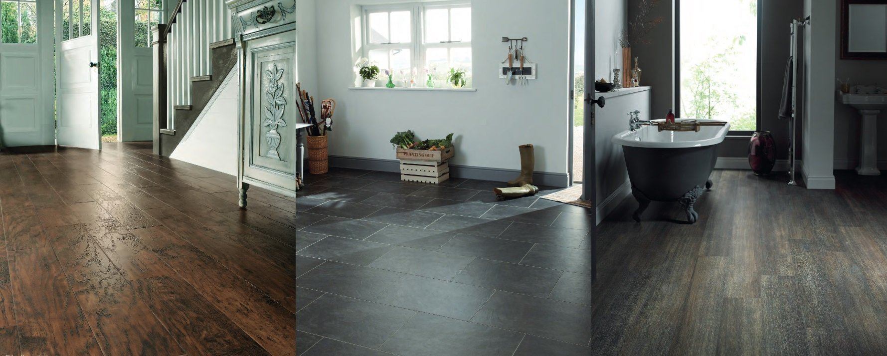 Living room flooring and bathroom flooring by Holme Design