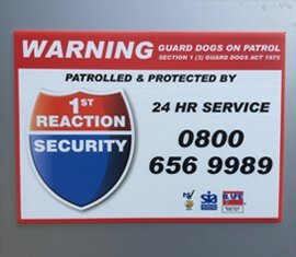 Patrolled and Protected by: 1st Reaction Security - 24 hour Service - 0800 656 9989
