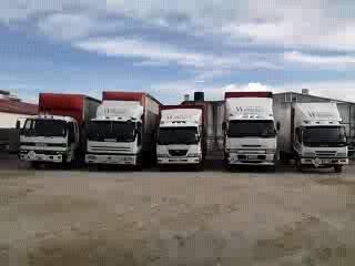 Five trucks in a row