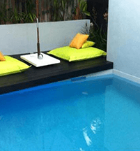 Sundollar Pool construction in gold coast with bedsheet and pillow designs