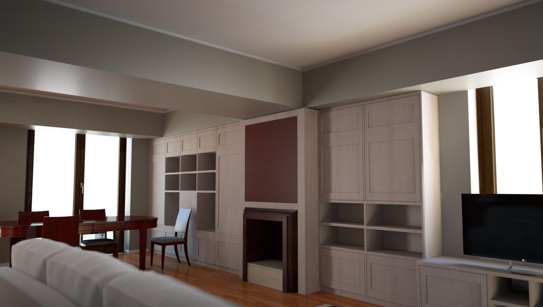 dei mobili in legno di diversi color in un salotto