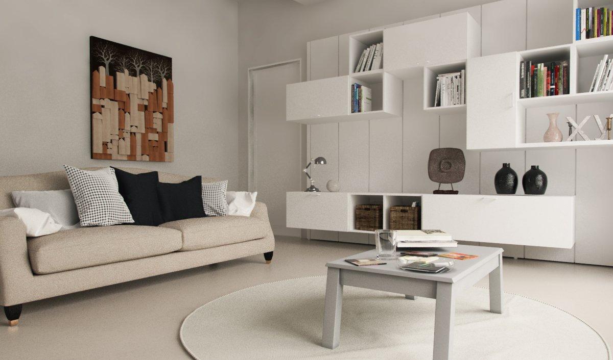 un salotto con un divano, un tavolino e un mobile