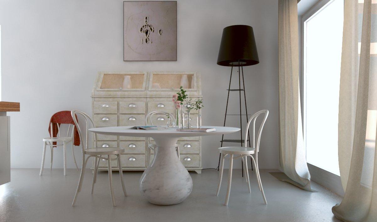 un tavolo, delle sedie e dietro un mobiletto