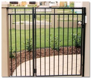 aus design fencing and balustrade and champagne glass handrails and fencing gate in garden
