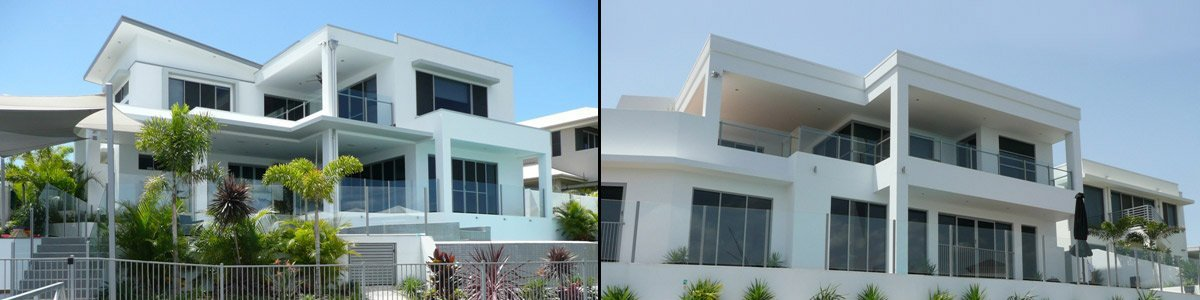 aus design fencing and balustrade and champagne glass handrails and fencing two house