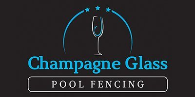 champagne glass pool fencing business logo