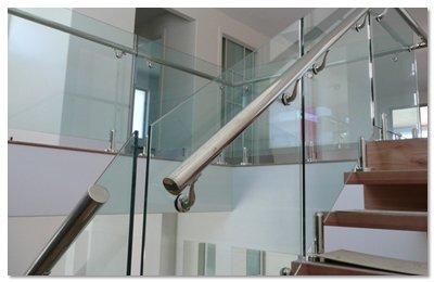 Glass balustrades in a home on the Gold Coast