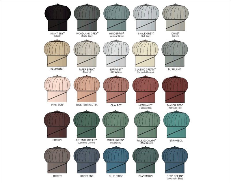 Downs Roofing windmaster whirlybird colour chart