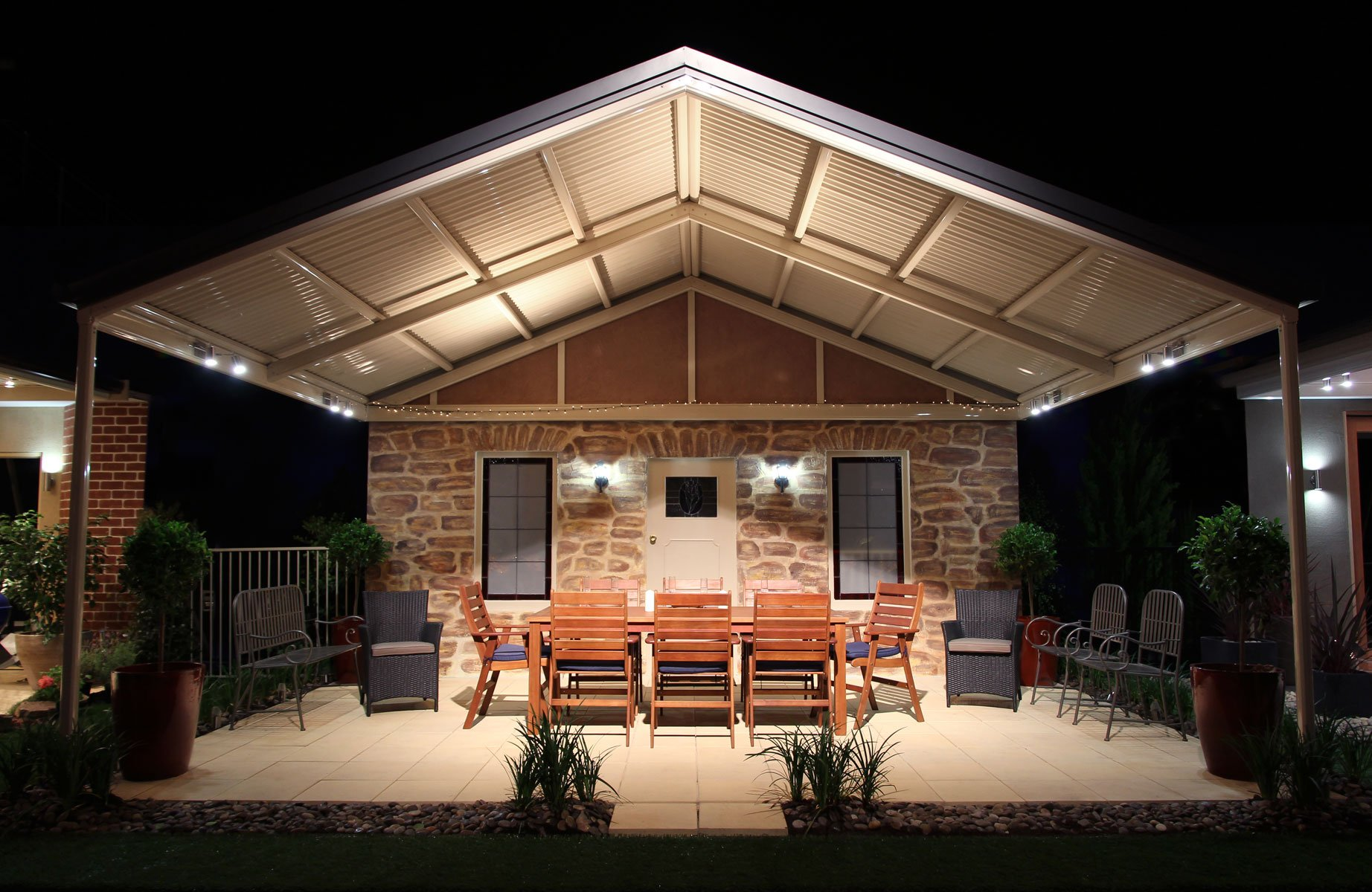 Elegant Gabled Roof at Night Viewing made by the best Patio Builders in Burleigh Heads