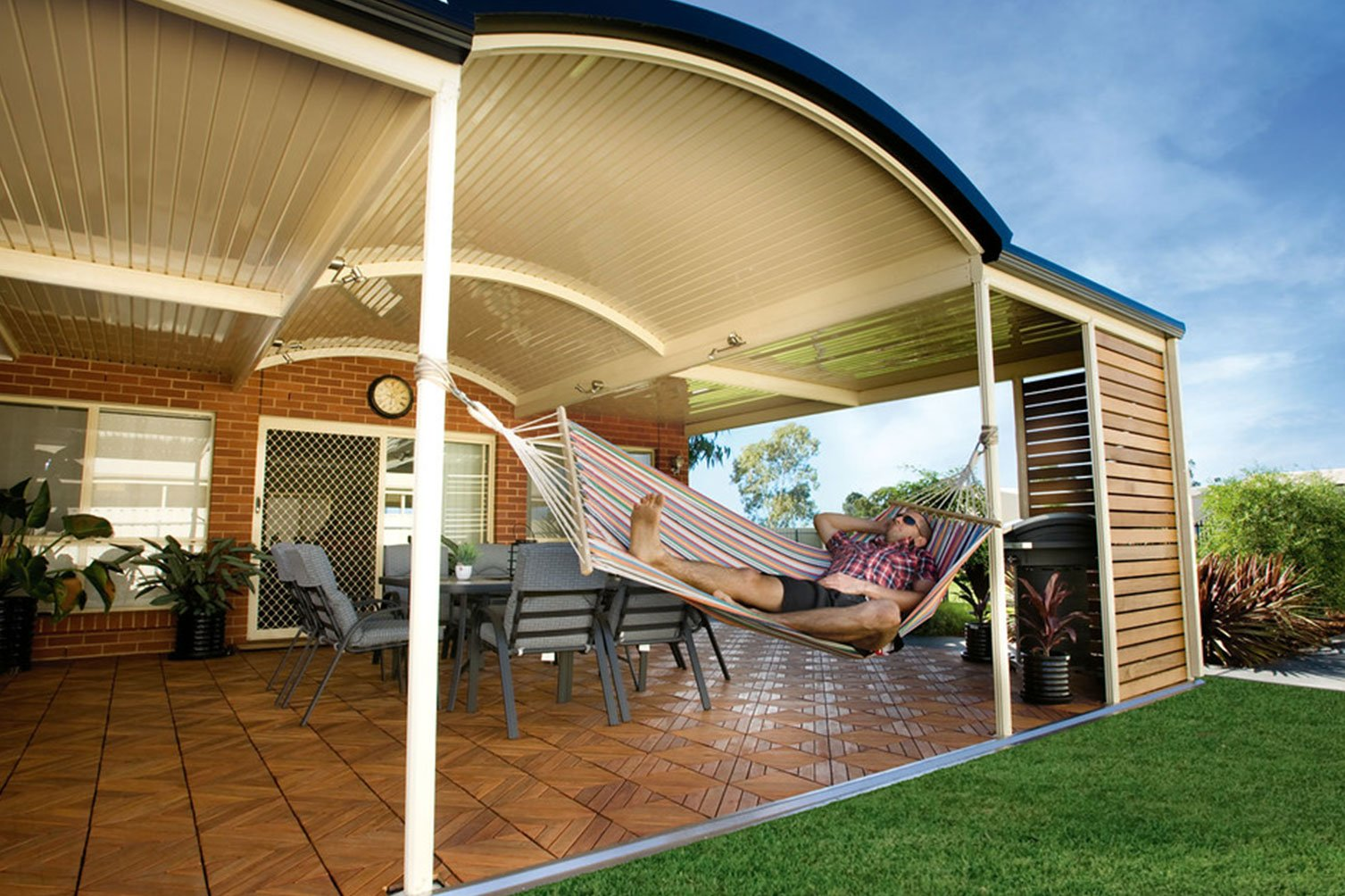 Allow yourself to enjoy the morning breeze under the roof patio in Gold Coast