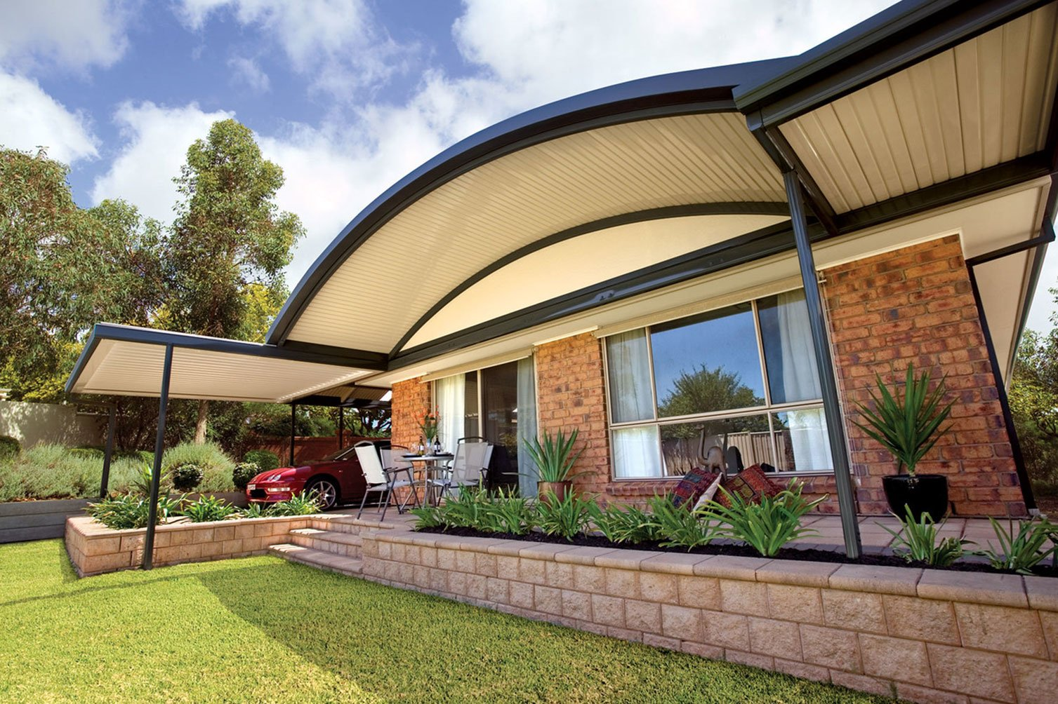 An inviting view of a gabled roof patio in Murwillumbah