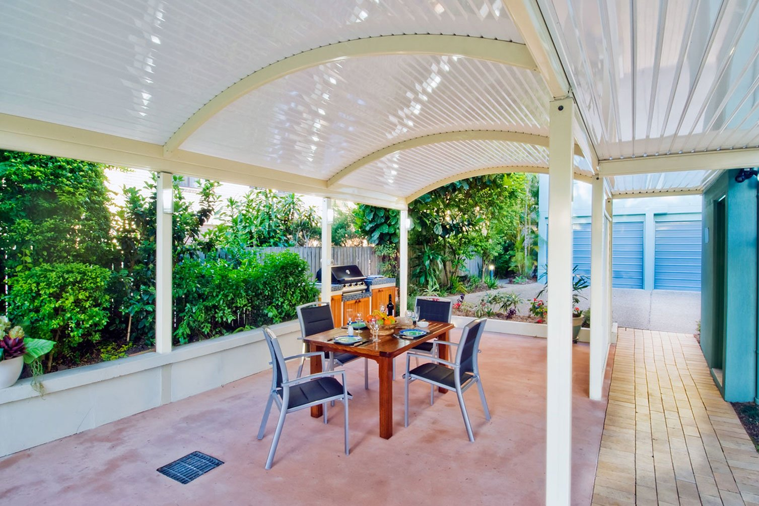 Beautiful outdoor mood under a white roof patio in Gold Coast