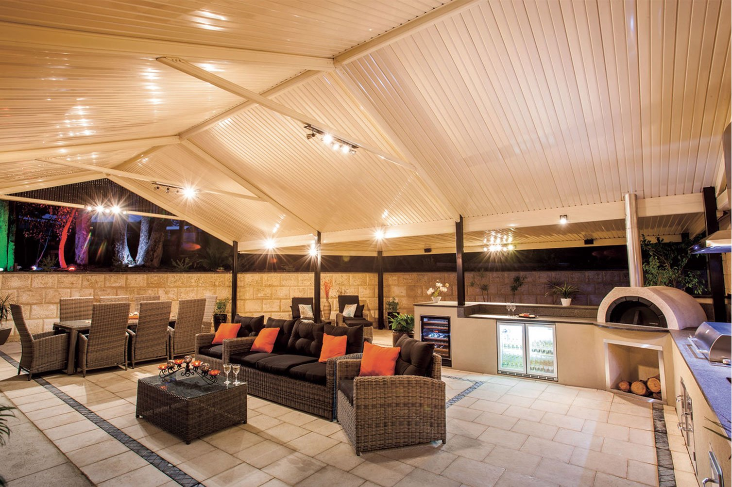 Well-lighted gabled roof patio in Byron Bay