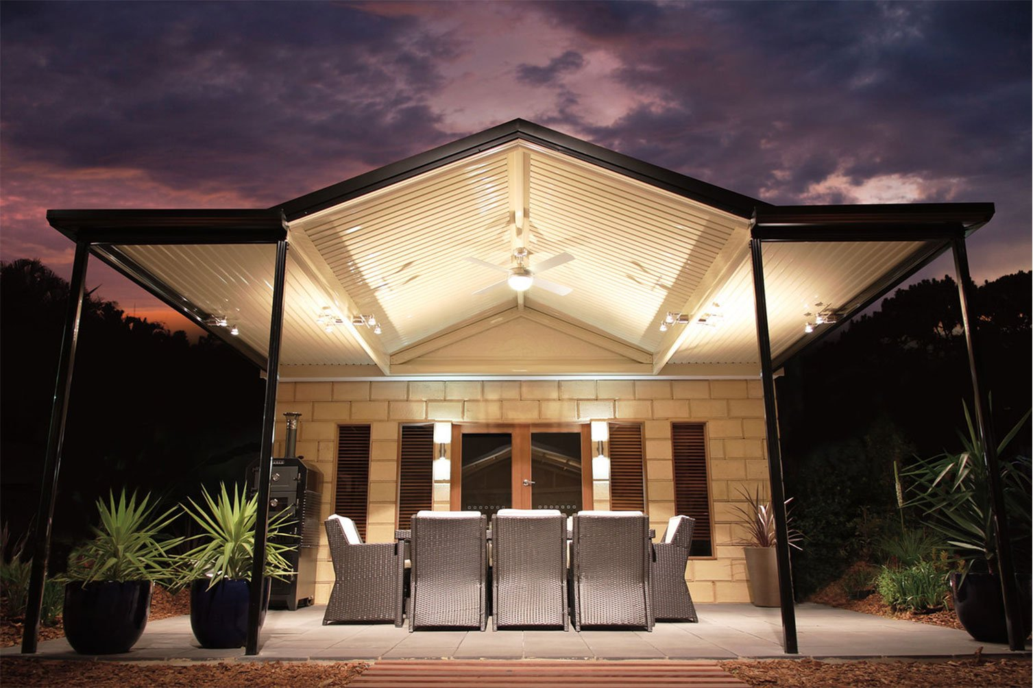 Exceptional sight of the sky after sunset while under a gabled roof patio in Murwillumbah