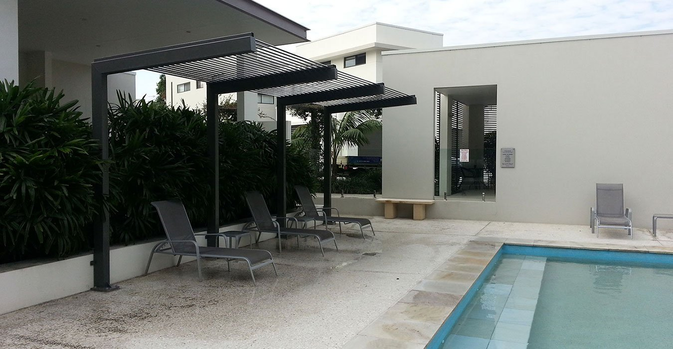 Opening sunroofs beside the pool is design to make people happy in Gold Coast