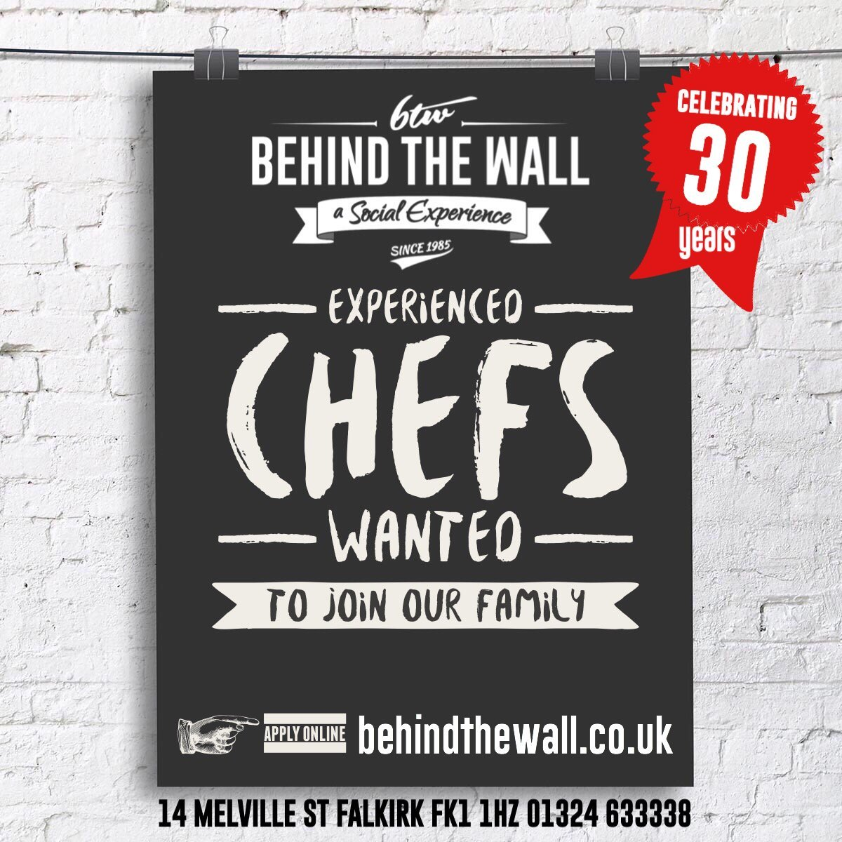 Behind the wall looking for experienced chefs