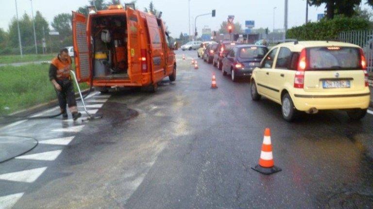 ripristino strade post incidente a Bergamo