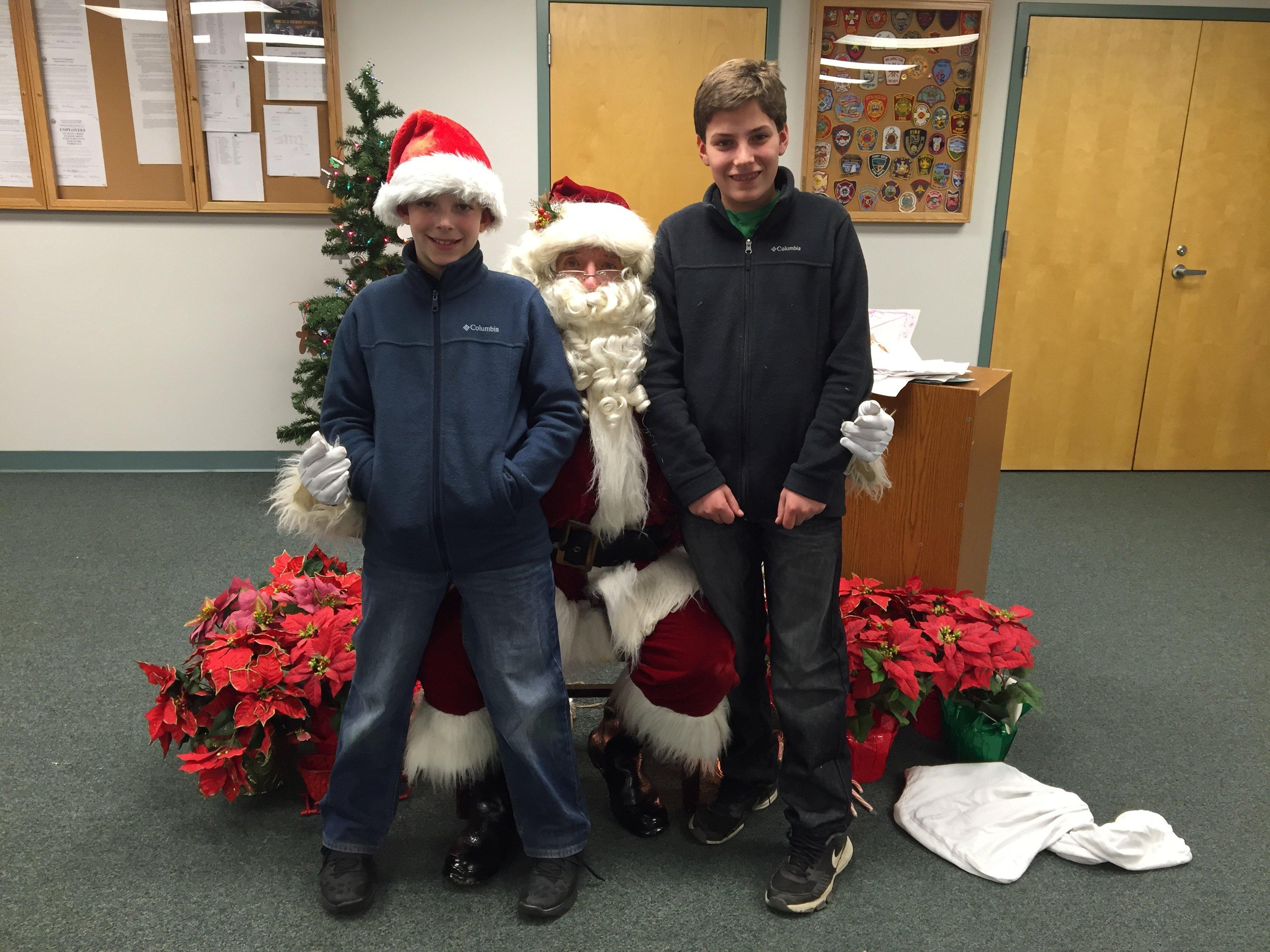 Mason & Jack Carubba with Santa