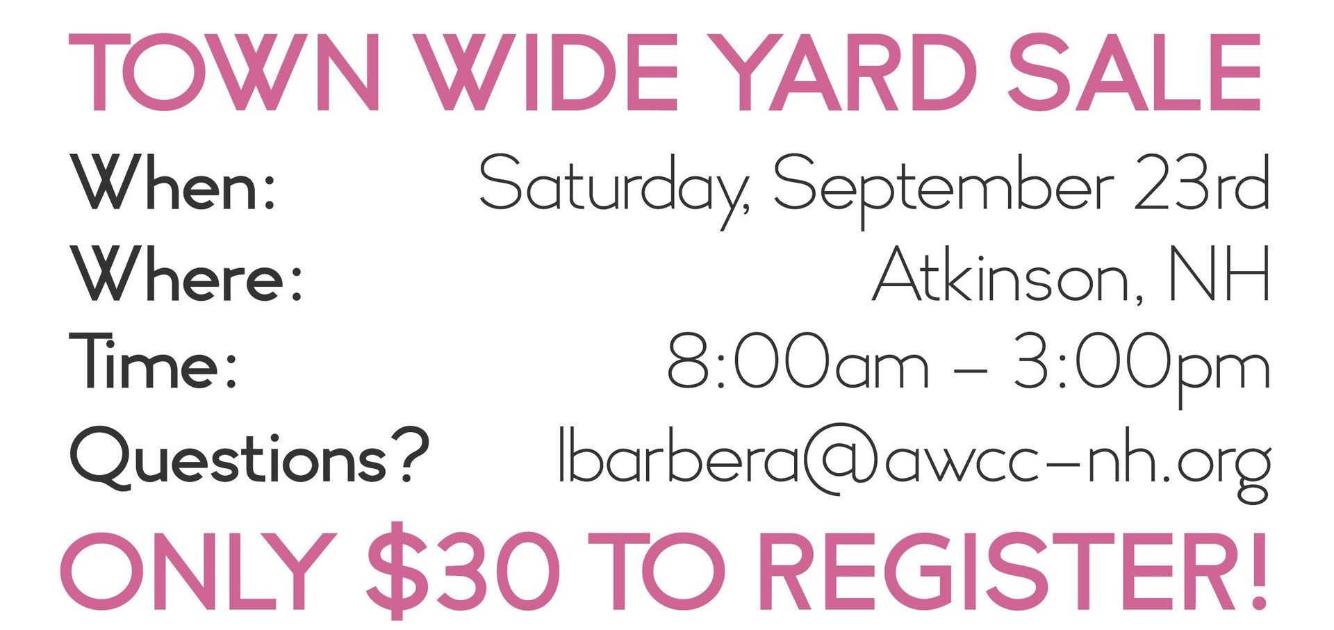 Fall 2017 Town Wide Yard Sale