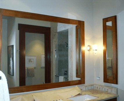 Bathroom with new mirror after glass installation in Kailua-Kona, HI