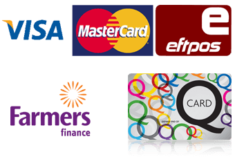 Visa, Mastercard, Eftpos, Farmers finance card and Q-Card payment options