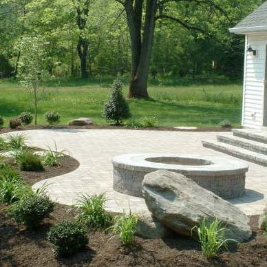 custom paver patio with fire pit in st charles mo