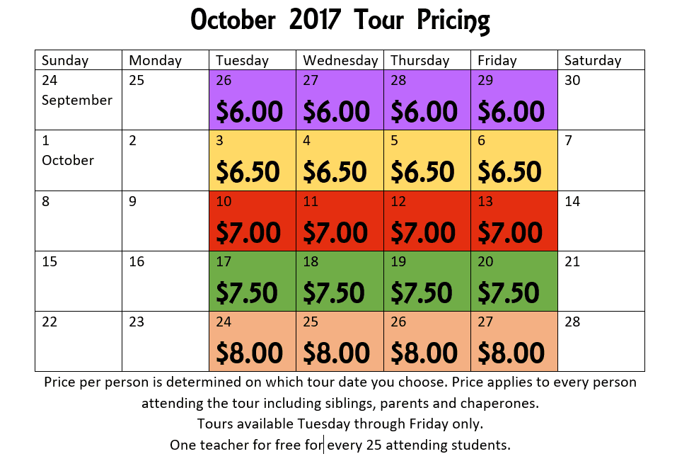 2016 tour pricing