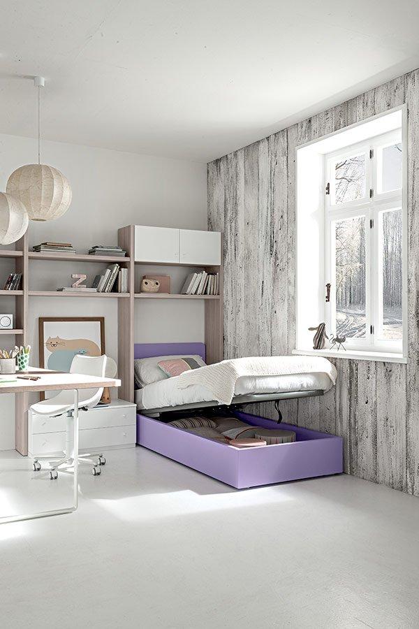 letto contenitore singolo in una camera per bambini