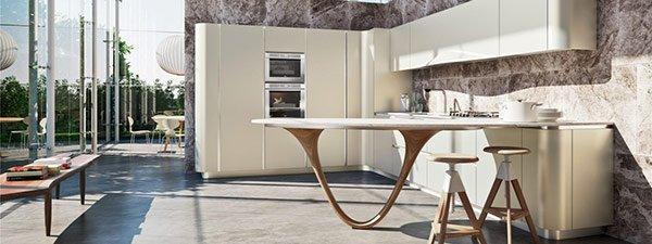 tavolo moderno in mezzo alla cucina