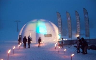 tenda per evento neve