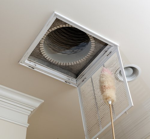 Dusting the vent for air conditioning