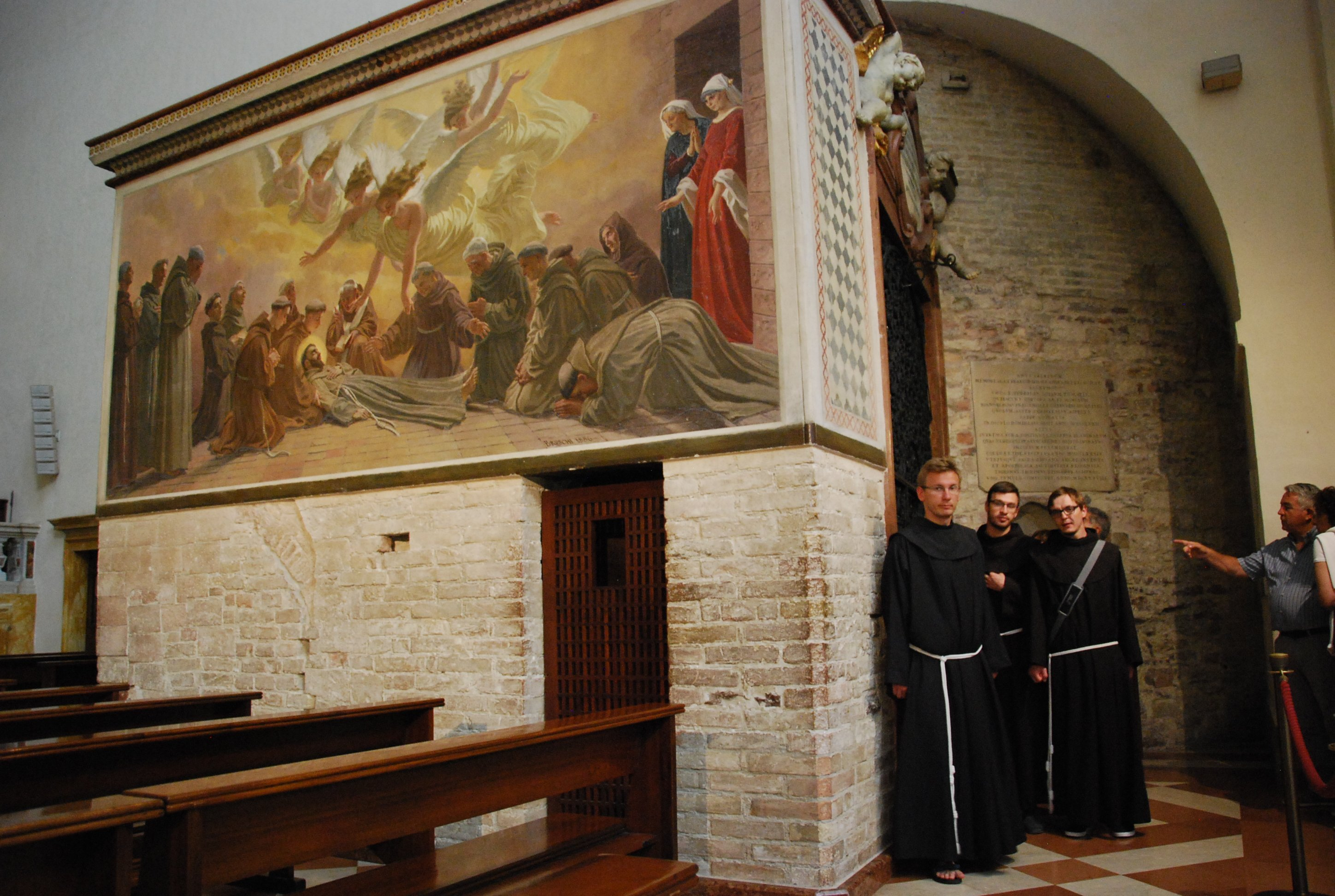 Stone Chapel and fresco recording the death of Francis of Assisi